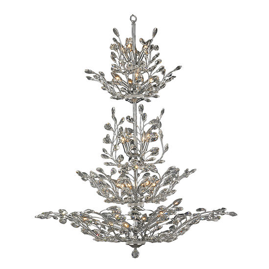 "Aspen Collection 26 Light Chrome Finish and ClearCrystal Floral Chandelier 42"" D x 50"" H Four 4 Tier Large"""