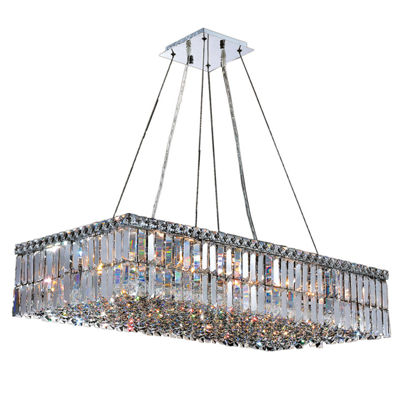 Cascade Collection 16 Light Chrome Finish and Clear Crystal Rectangle Chandelier
