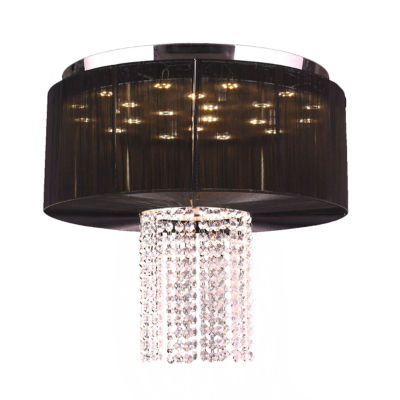 Alice Collection 9 Light LED Chrome Finish and Clear Crystal with Black String Shade