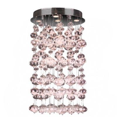 Effervescence Collection 7 Light Halogen Chrome Finish Blown Glass Bubble Flush Mount Ceiling Light