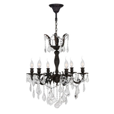Versailles Collection 6 Light Flemish Brass Finishand Clear Crystal Chandelier