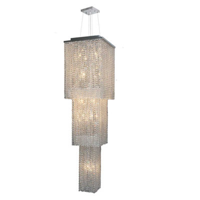 Prism Collection 20 Light 3-Tier Chrome Finish andClear Crystal Cascading Square Chandelier