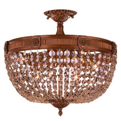 Winchester Collection 6 Light Golden Teak CrystalSemi Flush Mount Ceiling Light