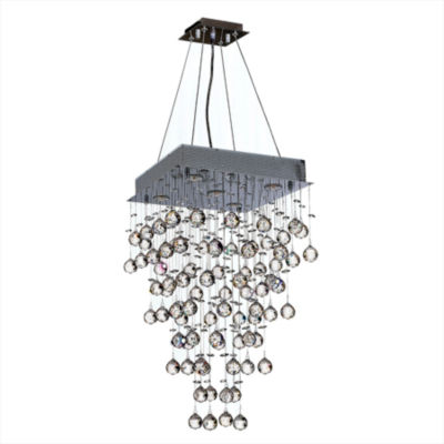 Icicle Collection 5 Light Chrome Finish and ClearCrystal Square Chandelier