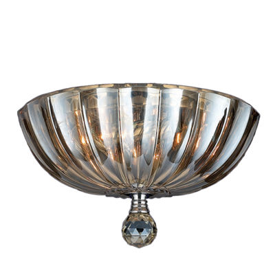 "Mansfield Collection 3 Light 12"" Chrome Finish andCrystal Bowl Flush Mount Ceiling Light"