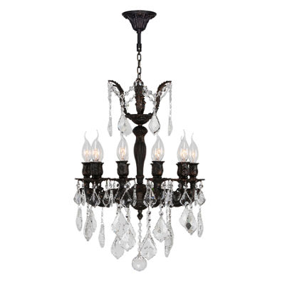 Versailles Collection 10 Light Flemish Brass Finish and Clear Crystal Chandelier