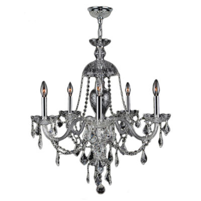 Provence Collection 5 Light Chrome Finish and Clear Crystal Chandelier