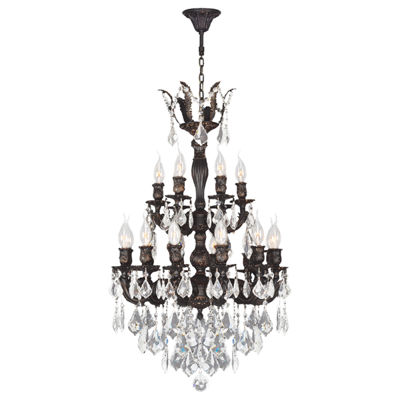 Versailles Collection 18 Light 2-Tier Flemish Brass Finish and Clear Crystal Chandelier