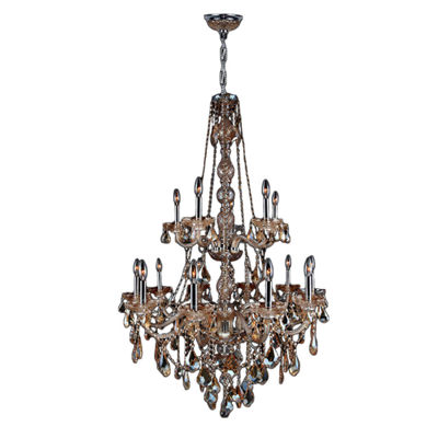 Provence Collection 15 Light 2-Tier Chrome Finishand Crystal Chandelier - Large