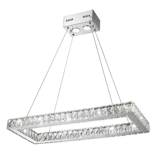 New Galaxy 14 Led Light Chrome Finish And Clear Crystal Rectangle Dimmable Chandelier