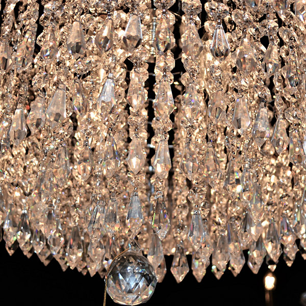 Gatsby Collection 8 Light Chrome Finish and ClearCrystal Chandelier with White Acrylic Drum Shade