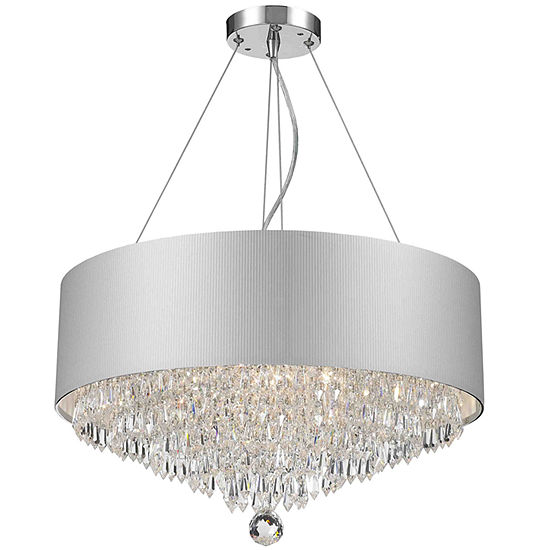 Gatsby Collection 8 Light Chrome Finish And Clear Crystal Chandelier With White Acrylic Drum Shade