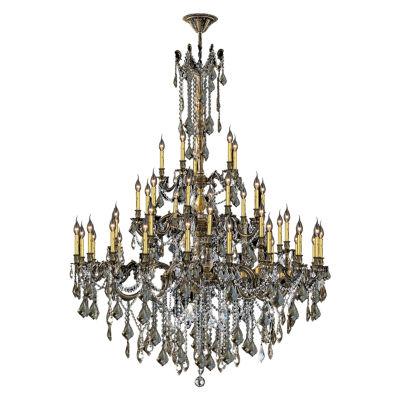 Windsor Collection 45 Light 4-Tier Golden Teak Crystal Chandelier