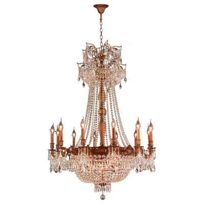 Winchester Collection 18 Light French Gold Finishand Golden Teak Crystal Chandelier