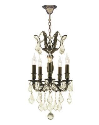 Versailles Collection 5 Light Antique Bronze Finish and Golden Teak Crystal Mini Chandelier