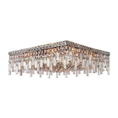 "Cascade Collection 12 Light 7.5"" Square Chrome Finish and Clear Crystal Flush Mount Ceiling Light"""