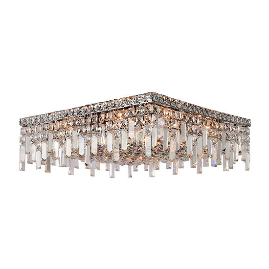 "Cascade Collection 12 Light 7.5"" Square Chrome Finish and Clear Crystal Flush Mount Ceiling Light"