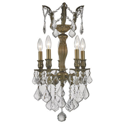 Versailles Collection 5 Light Mini Antique BronzeFinish and Crystal Chandelier
