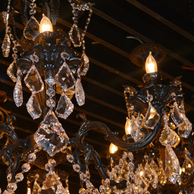 Versailles Collection 5 Light Flemish Brass Finishand Clear Crystal Chandelier