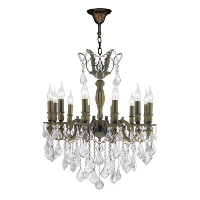 Versailles Collection 12 Light Antique Bronze Finish and Crystal Chandelier