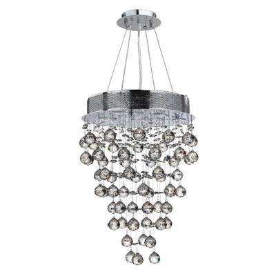 Icicle Collection 7 Light Mini Chrome Finish and Clear Crystal Chandelier