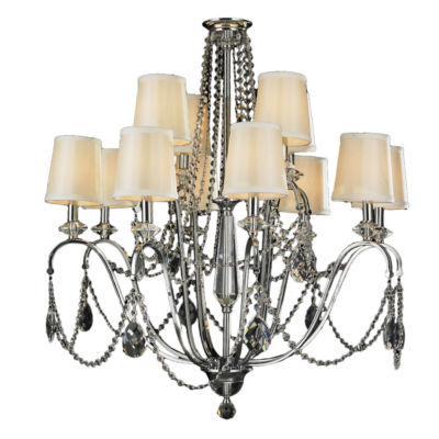 Innsbruck Collection 12 Light 2-Tier Chrome Finishand Clear Crystal with Ivory Shade Chandelier
