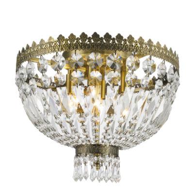 Metropolitan Collection 4 Light Antique Bronze Finish Crystal Flush Mount Ceiling Light