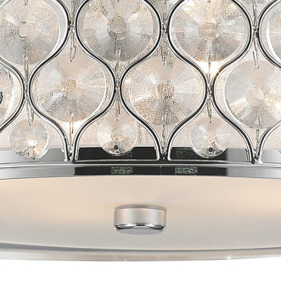 "Paris Collection 4 Light Chrome Finish with ClearCrystal Flush Mount Ceiling Light D16""H8"""
