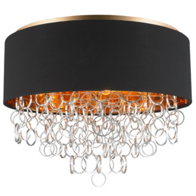 Catena Collection 6 Light Matte Finish with BlackLinen Drum Shade Flush Mount Ceiling Light