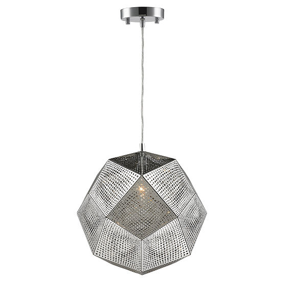 "Geometrics Collection 1 Light 12"" Stainless Steel Pendant"