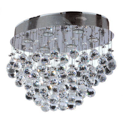 Icicle Collection 6 Light Chrome Finish and ClearCrystal Oval Flush Mount Ceiling Light