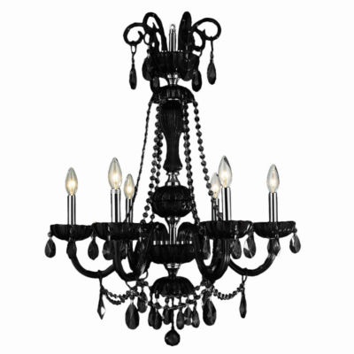 "Carnivale Collection 6 Light Chrome Finish and Black Crystal Chandelier 25"" D x 34"" H Large"""