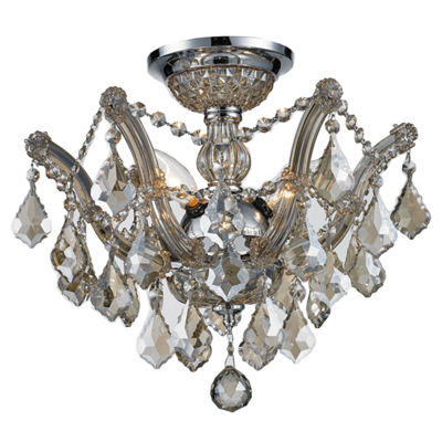 Bayou Collection 3 Light Chrome Finish and GoldenTeak Crystal Semi-Flush Mount Ceiling Light
