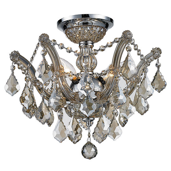 Bayou Collection 3 Light Chrome Finish and Golden Teak Crystal Semi-Flush Mount Ceiling Light