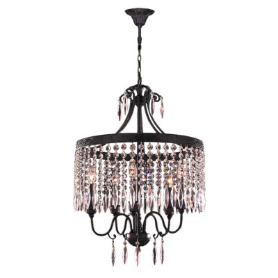 Enfield Collection 5 Light Flemish Brass and Clear Crystal Chandelier