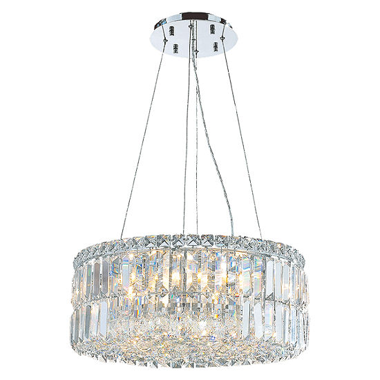 Cascade Collection 12 Light Chrome Finish And Clear Crystal Circle Chandelier