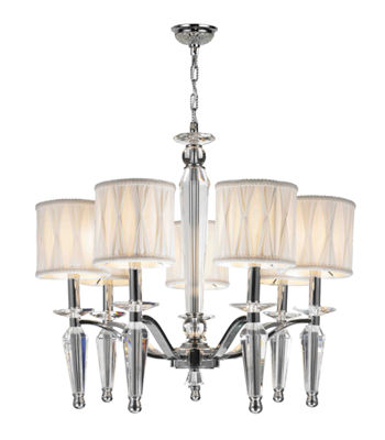 Gatsby Collection 7 Light Chrome Finish and ClearCrystal Chandelier with White Fabric Shade
