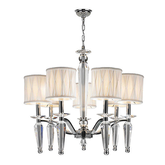 Gatsby Collection 7 Light Chrome Finish and Clear Crystal Chandelier with White Fabric Shade