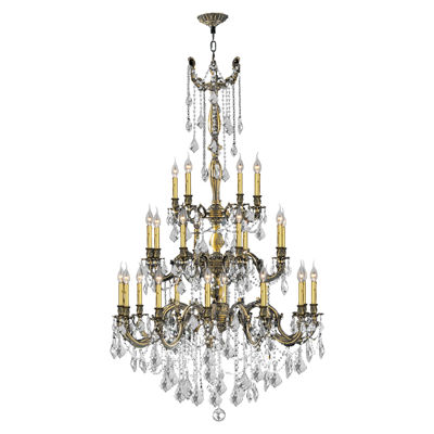 Windsor Collection 25 Light 3-Tier Antique BronzeFinish and Clear Crystal Chandelier