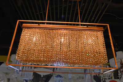 Franklin Collection 3 Light French Gold Finish andAmber Crystal Chandelier