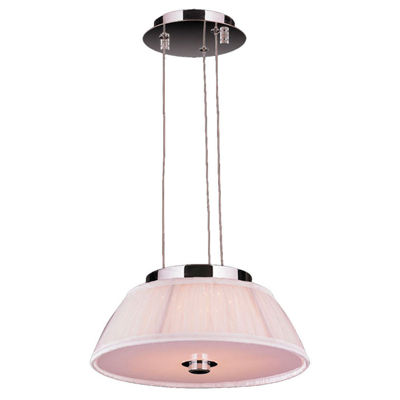 "Alice Collection 5 Light LED Chrome Finish with White String Shade Pendant 12"" D x 4"" H Small"""