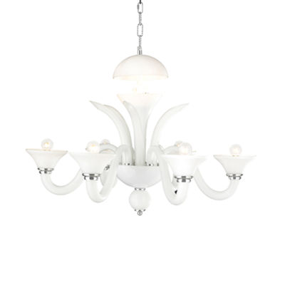 Murano Collection 6 Light Blown Glass in White Finish Venetian Style Chandelier 21""