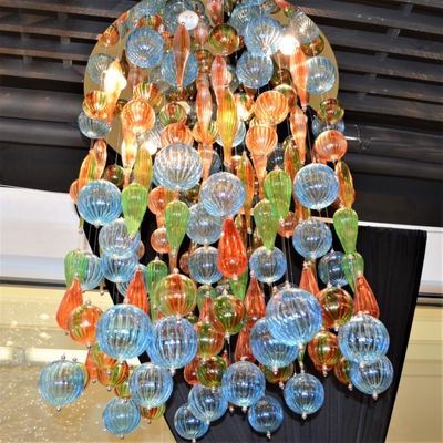 Niagara Collection 9 Light Chrome Finish and Multi-Color Blown Glass Bubble Flush Mount Ceiling Light