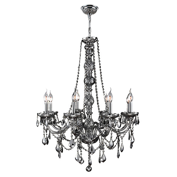 Provence Collection 8 Light Chrome Finish and Crystal Chandelier