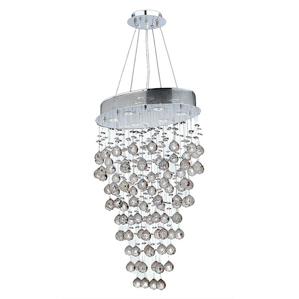 Icicle Collection 6 Light Chrome Finish and ClearCrystal Oval Chandelier