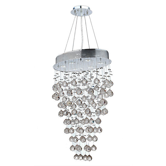 Icicle Collection 6 Light Chrome Finish and Clear Crystal Oval Chandelier