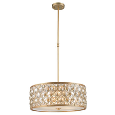 Paris Collection 5 Light with Clear and Golden Teak Crystal Pendant