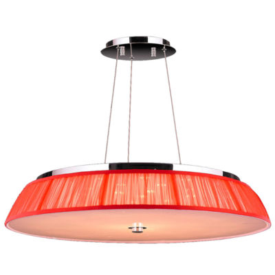 "Alice Collection 21 Light LED Chrome Finish with Red String Shade Pendant 28"" D x 4"" H Large"""