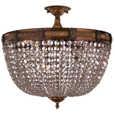 Winchester Collection 4 Light Clear Crystal Semi Flush Mount Ceiling Light