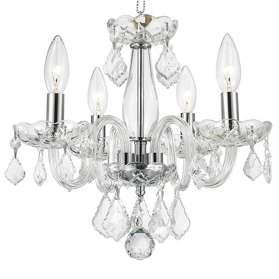 Clarion Collection 4 Light Mini Chrome Finish andClear Crystal Chandelier